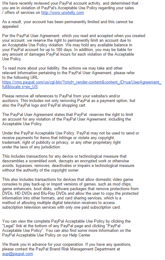 письмо о причине бана в paypal
